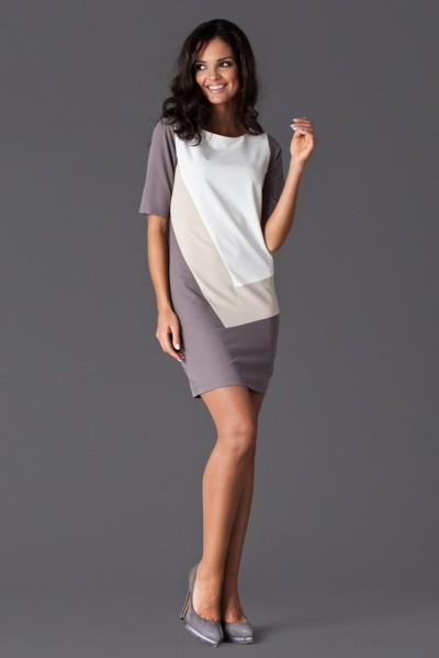 Dámské šaty Figl 118 béžovo šedé