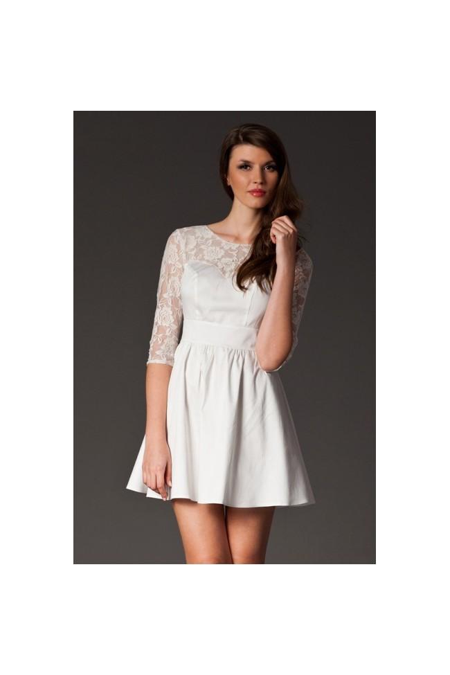 Dámské šaty s krajkou Figl 144 bílé