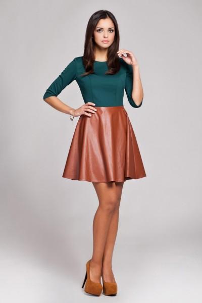 Dámské šaty Figl 162 zeleno - hnědé