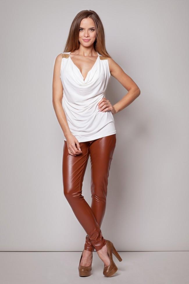 Dámské kalhoty Figl M186 červeno-hnědé