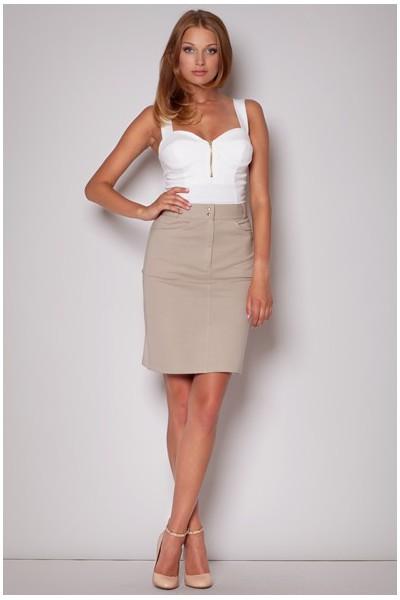 Dámská bavlněná sukně Figl M217 béžová