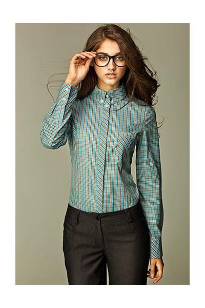 Dámská košile Nife K 37-tyrkysová kostička