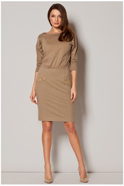 Dámske bavlněné šaty Figl M 252 béžové