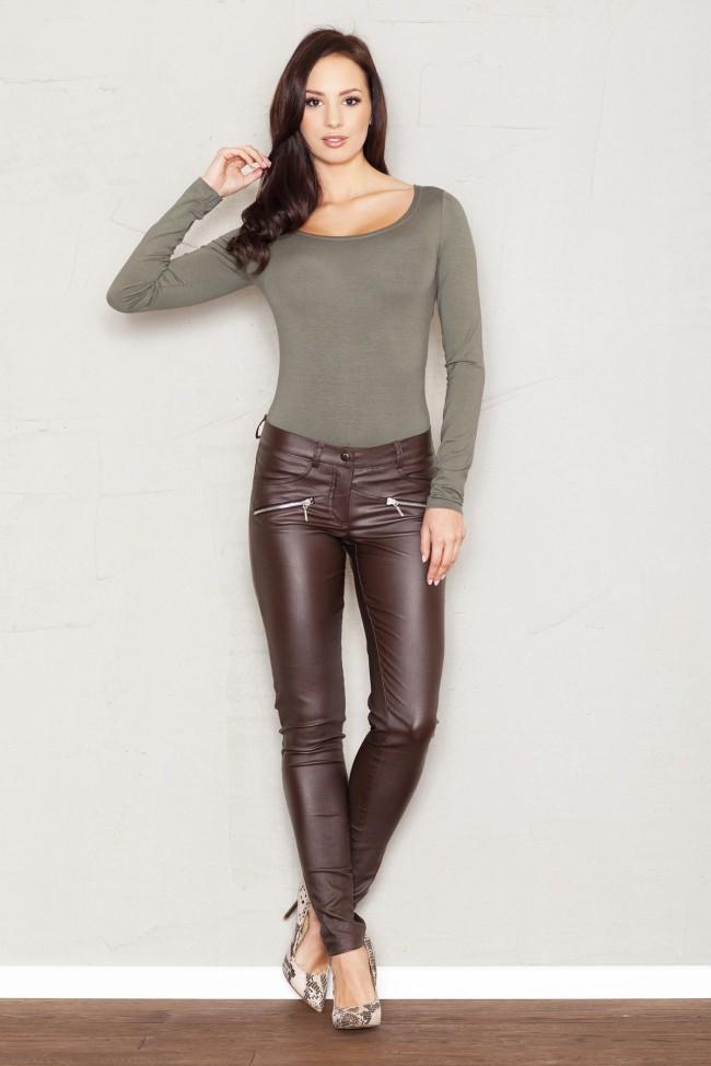 Dámské kalhoty Figl M361 hnědé