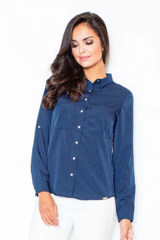 Dámská košile Figl M 384 modrá