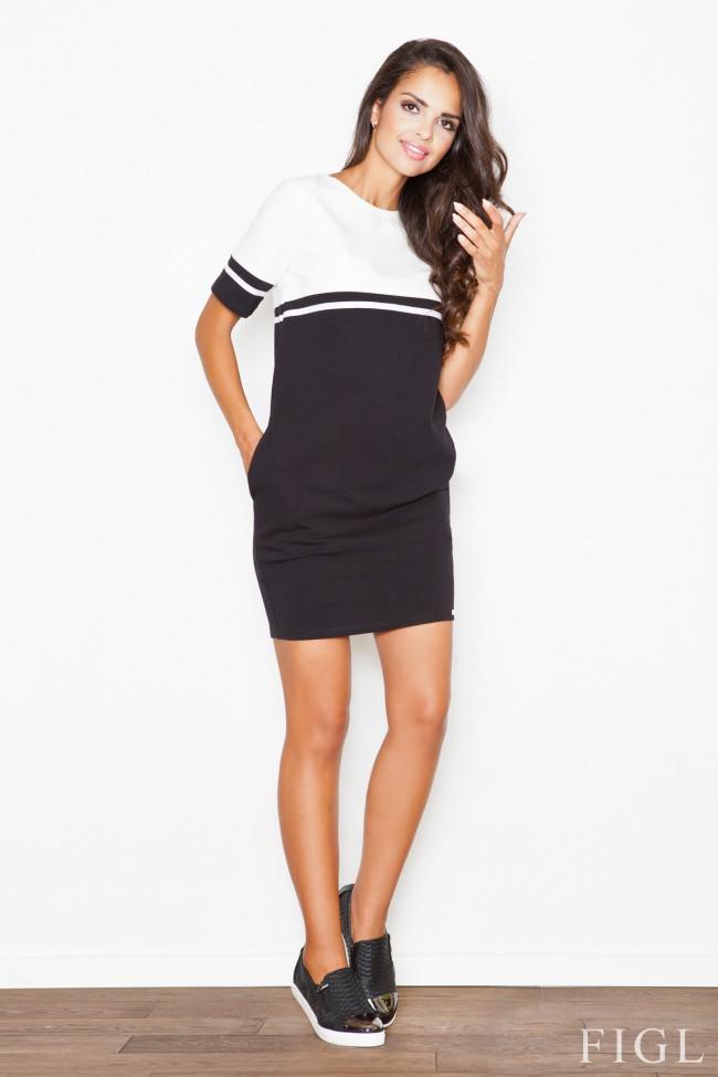 Dámské šaty Figl  M 400 černé-ecru