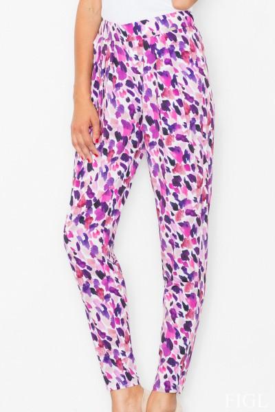 Dámské kalhoty Figl M503 - vzorované - fialové