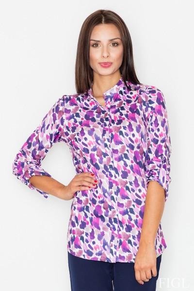 Dámská košile Figl M 504-vzorovaná-fialová