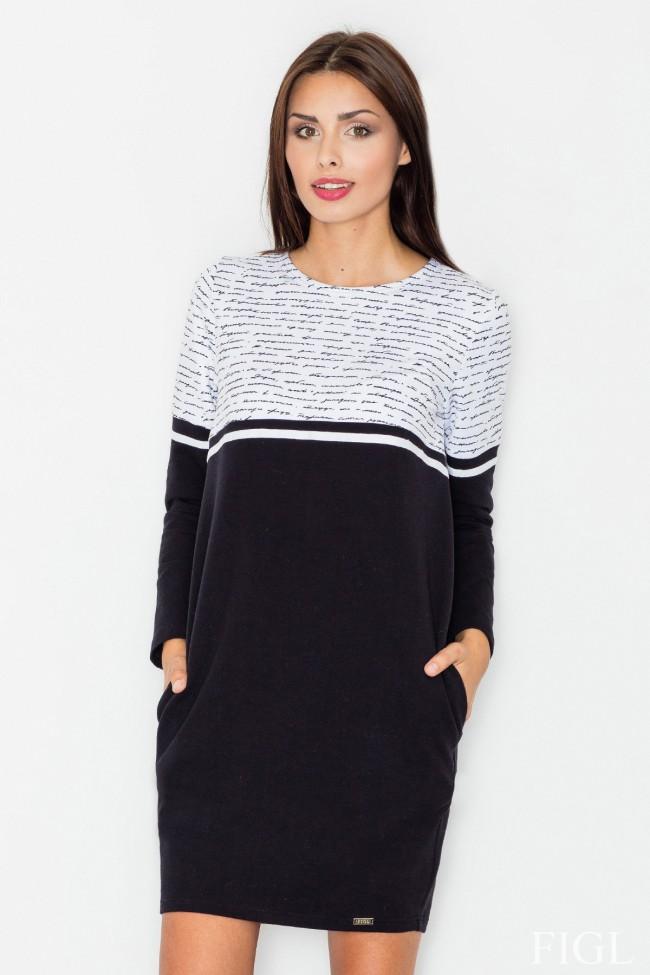 Dámské šaty Figl  M 510 - černá - šedá