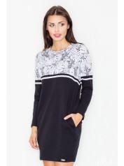 Dámské šaty Figl  M 510 - černá - květy