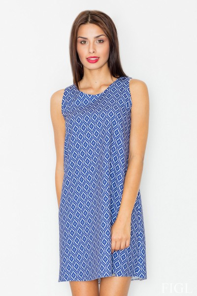 Dámské šaty Figl  M 518 vzorované modré