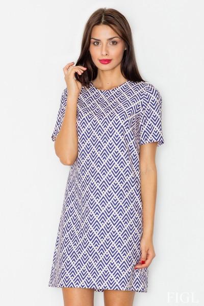 Dámské šaty Figl  M 519 vzorované sv. modré