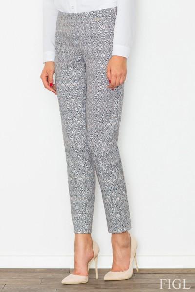 Dámské kalhoty Figl M515 vzorovaná šedá