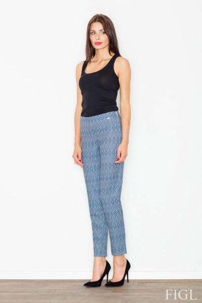 Dámské kalhoty Figl M515 vzorovaná modrá