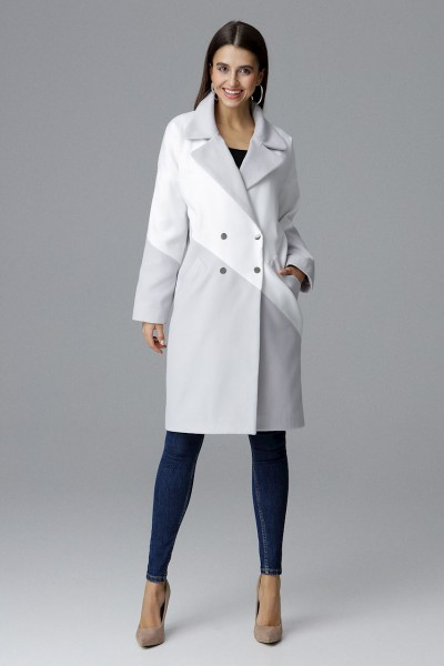 Dámský kabát Figl M626 šedá bílá