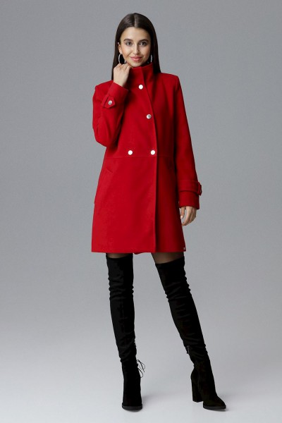 Dámský kabát Figl M623 červený - velikost S - výprodej